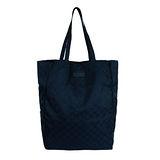 GUCCI 緞面G logo皮標收納購物袋(深藍)