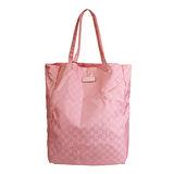 GUCCI 緞面G logo皮標收納購物袋(粉)