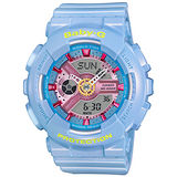 CASIO 卡西歐 Baby-G 藍色甜心指針數位雙顯錶/粉藍/BA-110CA-2A