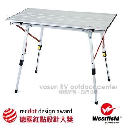 【美國 WEST FIELD】超輕航空鋁合金折疊鋁捲桌(高度無段可調.4.2kg).蛋捲桌.快速可搭建露營野餐桌 TA-581