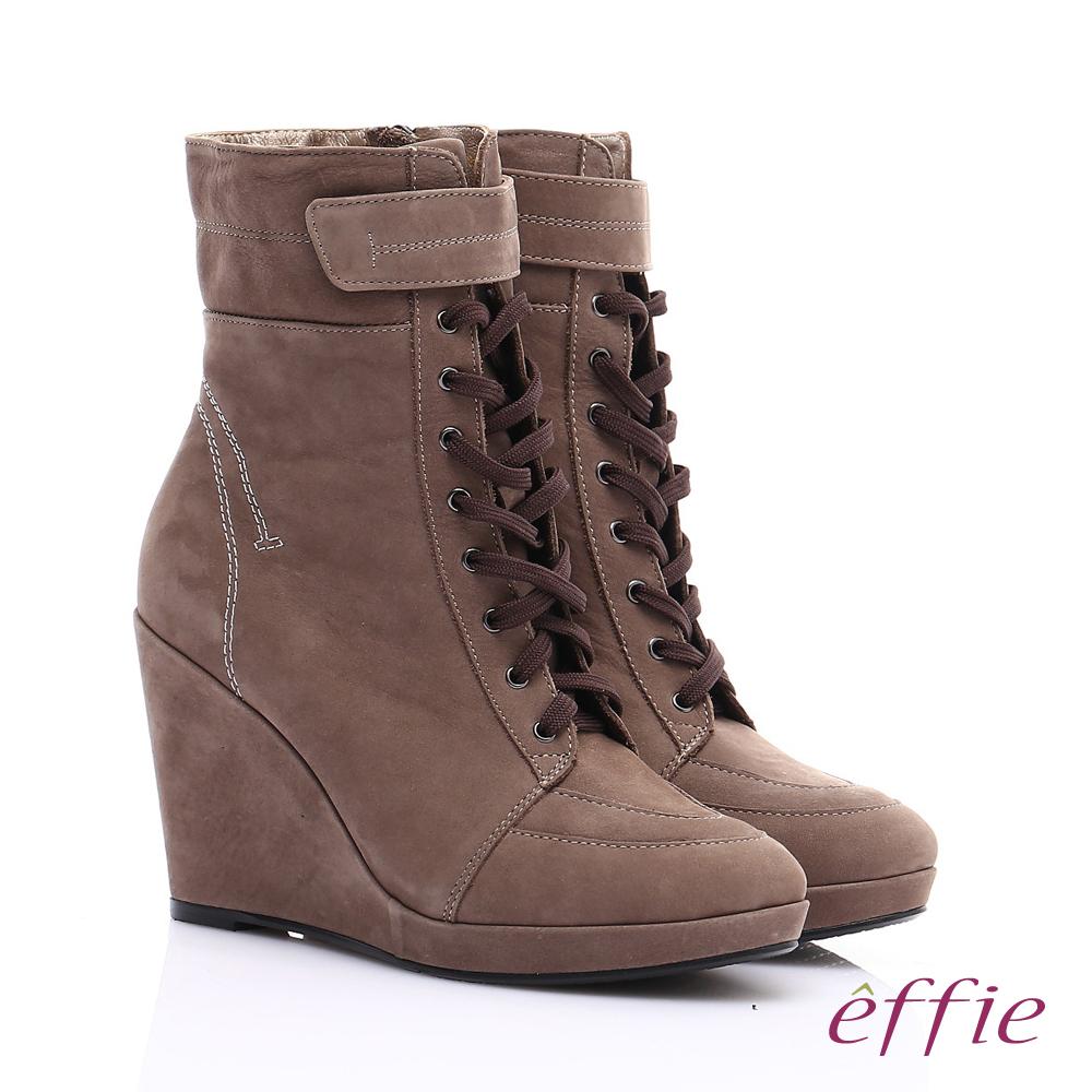 【effie】保暖靴系列 絨面牛皮魔鬼氈奈米楔型短靴(灰)