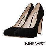 NINE WEST--金屬鞋跟麂皮高跟鞋--俐落黑