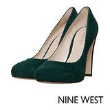 NINE WEST--金屬鞋跟麂皮高跟鞋--吸睛墨綠