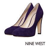 NINE WEST--金屬鞋跟麂皮高跟鞋--性感紫