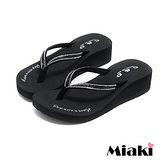 【Miaki】MIT 涼鞋韓水鑽素面防滑厚底夾腳涼拖 (黑色)