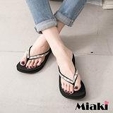 【Miaki】MIT 涼鞋韓寶石水鑽素面防滑厚底夾腳涼拖 (黑色)