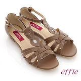 【effie】悠閒渡假 全真皮交叉編織平底涼鞋(咖啡)