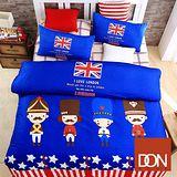 《DON英倫士兵》雙人四件式蜜絲絨全舖棉兩用被床包組