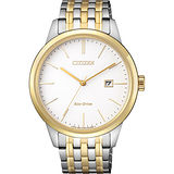 CITIZEN星辰 ECO-Drive 光動能紳士腕錶-白x雙色版/40mm BM7308-58A