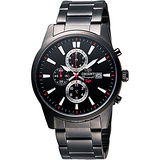 ORIENT 東方錶 時尚黑三眼計時不鏽鋼腕錶/42mm/FTT12001B