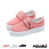 【Miaki】休閒鞋韓率性星星拉鍊魔鬼氈厚底懶人包鞋 (米白 / 粉色/ 黑色)