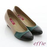 【effie】都會摩登 全真皮多色拼接楔型跟鞋(沙色)