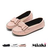 【Miaki】MIT 樂福鞋日雜皮質蝴蝶結平底休閒包鞋 (白色 / 黑色 / 粉色)