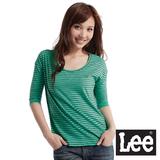 Lee V領橫條紋5分袖T恤-女款(綠)
