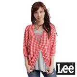 Lee 短袖格紋毛衣外套-女款(紅)