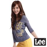 Lee 七分袖U領T恤-女款(灰藍)