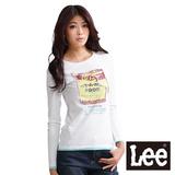 Lee 圓領長袖T恤 復古懷舊罐頭印刷-女款(白)