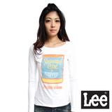 Lee 回歸起源 圓領龜裂設計罐頭印刷圖案長袖T恤-女款(米白)
