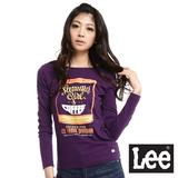 Lee 回歸起源 圓領龜裂設計罐頭印刷圖案長袖T恤-女款(紫)