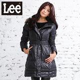 Lee 長版羽絨保暖外套 前拉鍊高領-女款(黑)