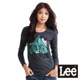 Lee 長袖T恤 圓領照片彩色印花-女款(黑灰)