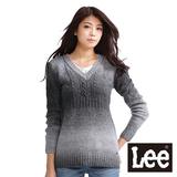 Lee 漸層色V領長版針織毛衣-女款(灰)