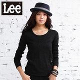 Lee 長袖針織毛衣 簍空圓領-女款(黑)