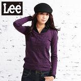 Lee 長袖簍空圓領針織毛衣-女款(紫)