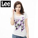 Lee 短袖T恤 圖片及文字幾何印刷-女款(白)