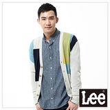 Lee 長袖針織外套 不規則色塊前開扣 -男款(米)