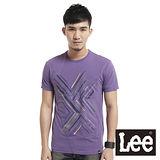 Lee 短袖T恤 前片拼接幾何線條印刷-男款(紫)