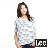 Lee 短袖T恤 橫條紋寬板縮袖-女款(條紋)