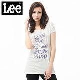 Lee 短袖T恤 大圓領刺繡寬鬆-女款(米白)