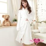 【天使霓裳】輕鬆自在 柔軟珊瑚絨綁帶睡袍 浴袍 睡衣(白F)