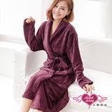 【天使霓裳】甜蜜氛圍 柔軟珊瑚絨綁帶睡袍 浴袍(紫紅F)