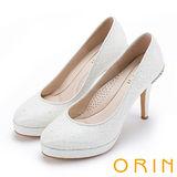 ORIN 晚宴婚嫁首選 夢幻蕾絲珍珠鑽飾高跟鞋-白色