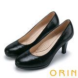 ORIN 簡約時尚OL 壓紋羊皮質感素面高跟鞋-黑色