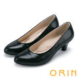 ORIN 簡約時尚OL 壓紋羊皮百搭素面中跟鞋-黑色