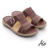 【A.S.O】奈米氣墊 真皮縫線工字自黏帶涼拖鞋(淺紫)
