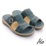 【A.S.O】奈米氣墊 真皮縫線工字自黏帶涼拖鞋(藍)
