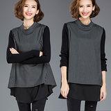 【麗質達人 中大碼】8146長版假二件式上衣(XL-5XL)