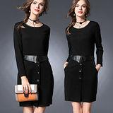 【麗質達人 中大碼】2958仿皮拼接假二件洋裝(XL-5XL)