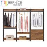 Bernice-諾德8尺開放式組合衣櫃(雙吊+單桿+三抽)
