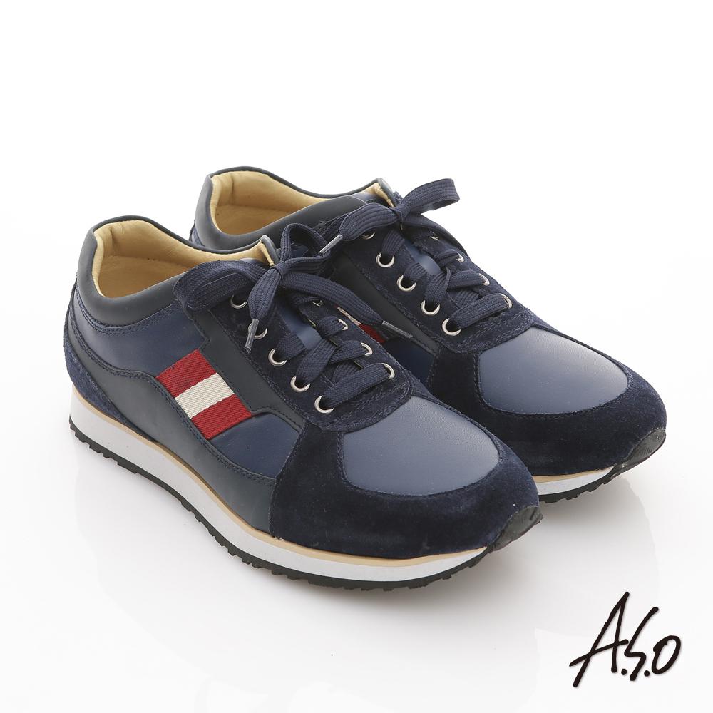 【A.S.O】樂活休閒 絨面真皮雙色織帶奈米休閒鞋(藍)