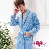 【天使霓裳】法式甜心 柔軟珊瑚絨綁帶睡袍 浴袍(淺藍F)