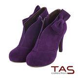 TAS 摩登女伶 性感V型剪裁蝴蝶結高跟踝靴-魅力紫