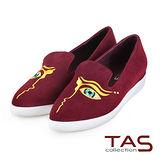 TAS 獨特造型眼睛圖騰設計麂皮slip-on懶人鞋-復古紅
