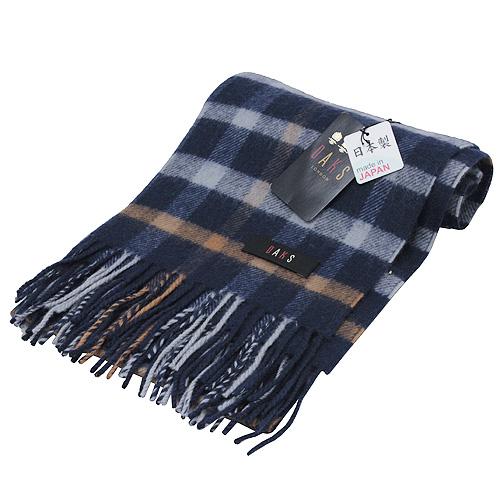DAKS經典大格紋羊毛圍巾(藍)