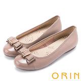 ORIN 輕柔甜美 真皮雙材質蝴蝶結平底娃娃鞋-粉紅