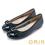 ORIN 輕柔甜美 真皮雙材質蝴蝶結平底娃娃鞋-藍色